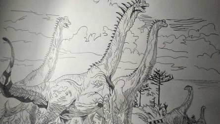 Giraffatitan (Pencil Sketch) by BenitoDLR