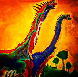 Giraffatitan Male  Female (Oil) by BenitoDLR