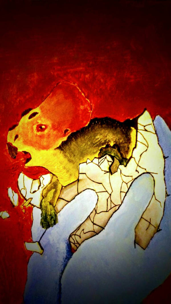 Triceratops Hatching Out (Oil) by BenitoDLR