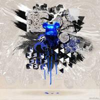 Bearbrick Blue abstract by xavierlokollo