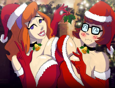 Christmas Velma and Daphne by Drawsputin