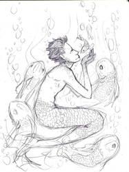-sketch- fisch menschen by colorsoftuesday