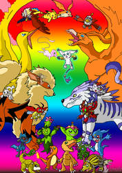 Pokemon and Digimon Together by Arvata