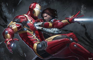 Civil War-fan art Iron Man VS Winter Soldier by katoyo