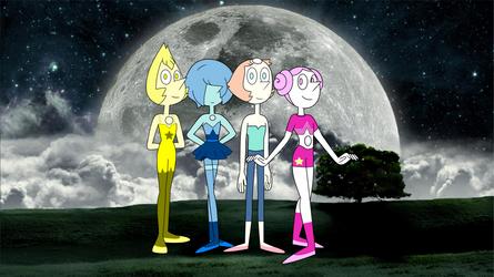 The Crystal Gems Pearls in moon night by henryleonardolopez92