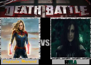 DEATH BATTLE: Captain Marvel VS Hela by diebitch2947