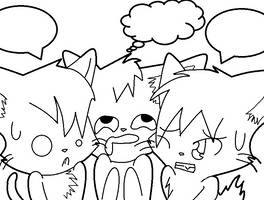 The Three Cats Lineart by Milkyway-Cat