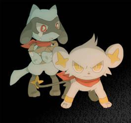 Shinx defending riolu by TrickU