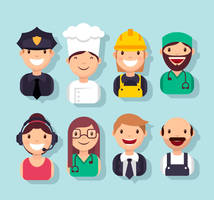 8 Smiley Professional Characters Avatar Vector by FreeIconsdownload