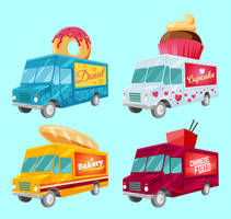 4 Vogue Fast Food Car Design Vector Material by FreeIconsdownload
