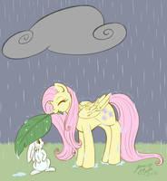 MLP:  It's raining, Angelbunny by jenasu