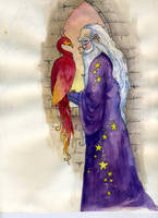 Dumbledore and Fawkes by LongLiveQueequeg