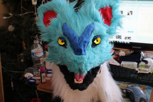 Shiny Noivern Fursuit Head WIP 2 by BlueEyes9