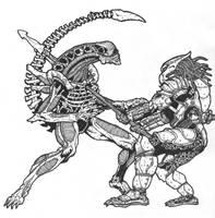 Predator thrust into Alien by DementedInk