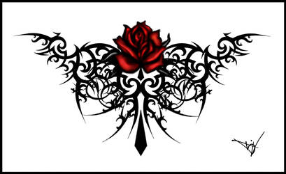 Gothic Maroon Rose Tattoo by Quicksilverfury