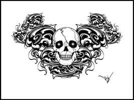 Gothic Skull Filigree tattoo by Quicksilverfury