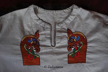 Viking shirt: Gokstad Beasts Embroidery by Zadumana