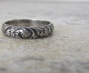 Floral Antiqued Silver Ring by SilverSmack