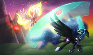 The Break of Day [Daybreaker vs Nightmare Moon] by Kana-The-Drifter
