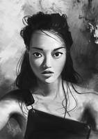 Black and white portrait study by Julien-Bernard