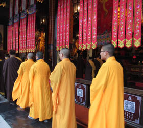 Monks At Jade Buddha Temple, Shanghai, China by dandelionstudios