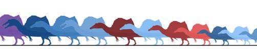 Spinosaurini(=Spinosaurus aegyptiacus?) specimens. by randomdinos