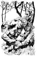 Hulk vs Swamp Thing Inks by devgear