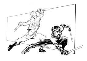 Red Hood vs Nightwing Inks by devgear