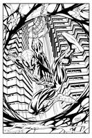 Spidey Splash Page Inks by devgear