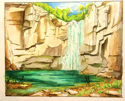 Copic Waterfall by SassTheSassySasser