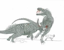 Tarbosaurus vs Sinoceratops by Saberrex