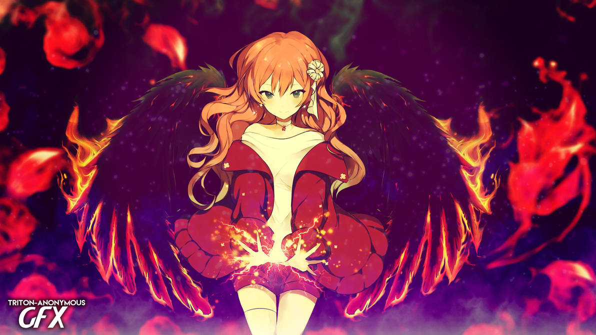 Anime fire angel girl wallpaper hd by tritonanonymousgfx