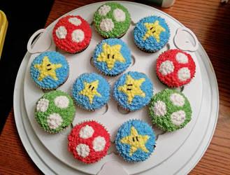 Mushroom and Stars cupcakes by darklizard14