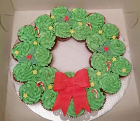 Cupcake Cake Christmas Wreath by darklizard14