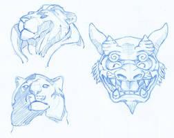 Lion statues by tekuatl