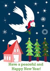 Winter Dove Postcard 2018 by Fad-Artwork