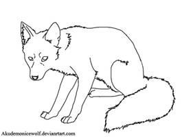 Fox lineart by Akudemonicwolf