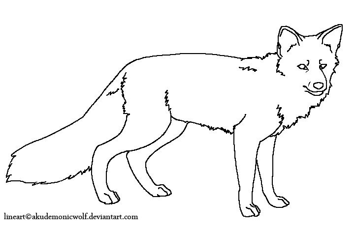 fox lineart 2 by Akudemonicwolf