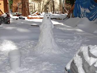 snowman in the yard by Mistgod