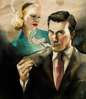 Quick watercolor: MAD MEN by EmegE