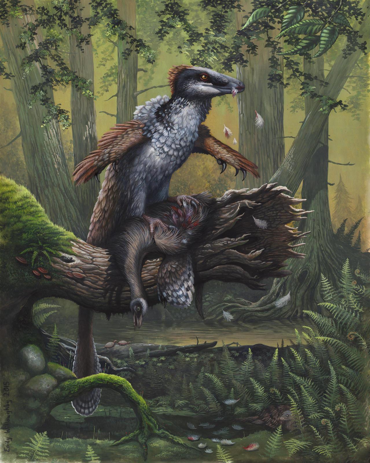 Dakotaraptor's Ornithomimus Dinner by EWilloughby