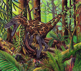 Velociraptor Pair on a Hunt by EWilloughby