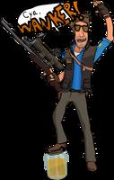 Blu Sniper Taunting His Target by Vigorousjammer
