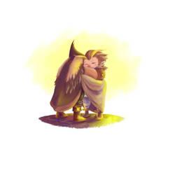 Owlboy - Hug by SarkSakura