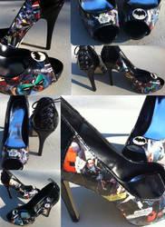 Batman and Robin Lace Up Heels by MargotlaRue