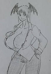 Big succubus in casual shirt by Fingertier