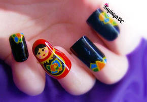 3D Russian Doll Nail Art by KayleighOC