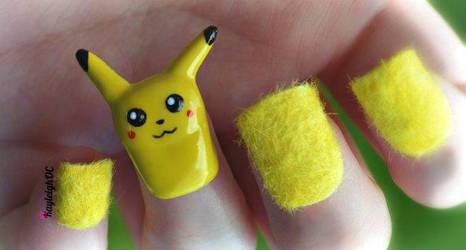 3D Pikachu Nail Art by KayleighOC