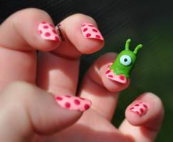 Futurama Nail Art - Brain Slug by KayleighOC