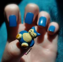Snorlax Nail Art by KayleighOC